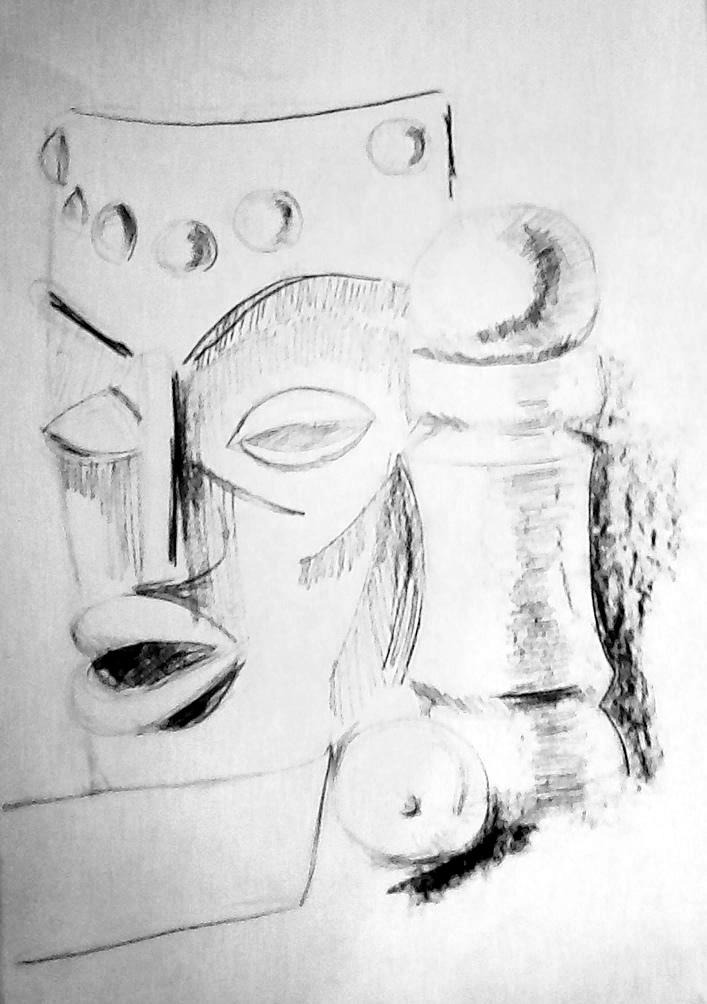 натюрморт с африканска маска - Мария -13