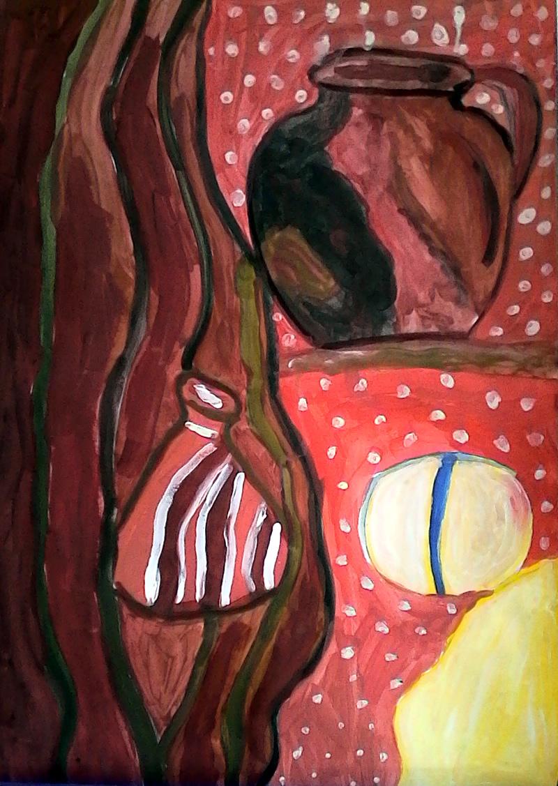 натюрморт със земни цветове - Маргарита 10 г.
