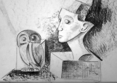 Натюрморт, рисунка на  сова-релеф  и глава от гипс - Мария - 13