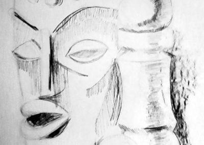 натюрморт с креда на  африканска маска - Мария -13