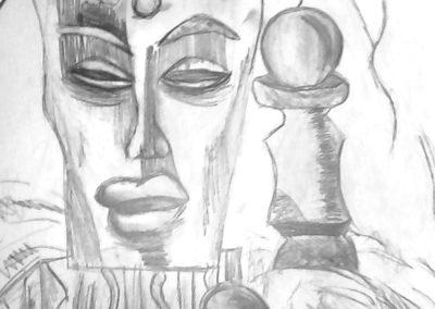 натюрморт с молив на  с африканска маска - Яна -10