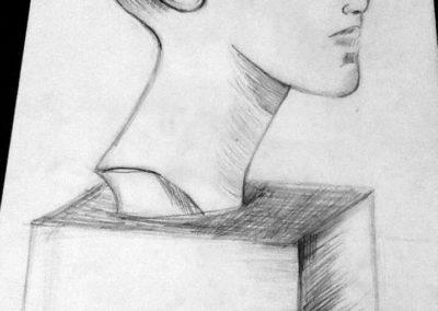 Курсове за ученици - натюрморт с молив - глава на Нефертити